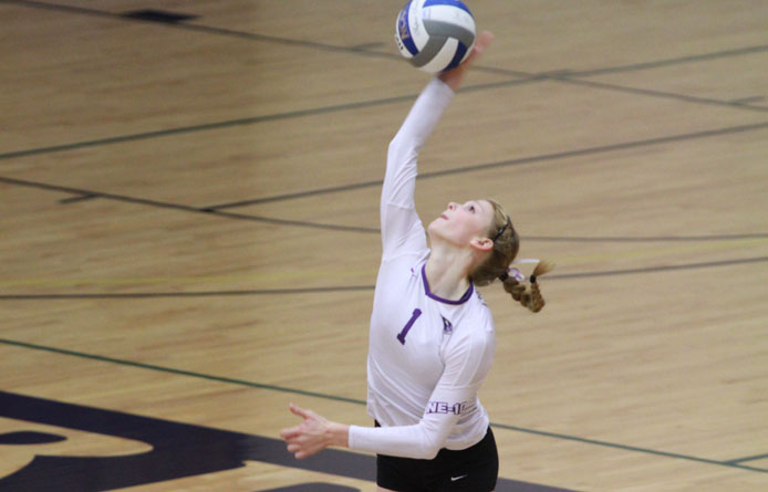 Flaherty reaches 500-kill plateau during women's volleyball's four-set loss at Assumption