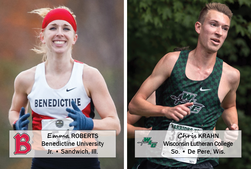 Benedictine junior Emma Roberts (Sandwich, Ill.) and Wisconsin Lutheran sophomore Chris Krahn (De Pere, Wis.) have been named the NACC Cross Country Student-Athletes of the Week for the week of October 8-14, 2018.