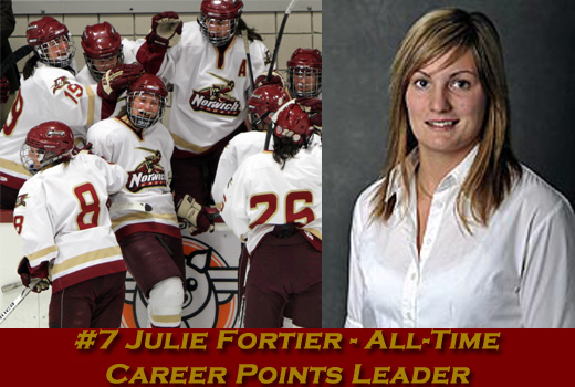 Women's Hockey: Fortier breaks career points record in Cadets' 6-0 shutout win over Salve Regina