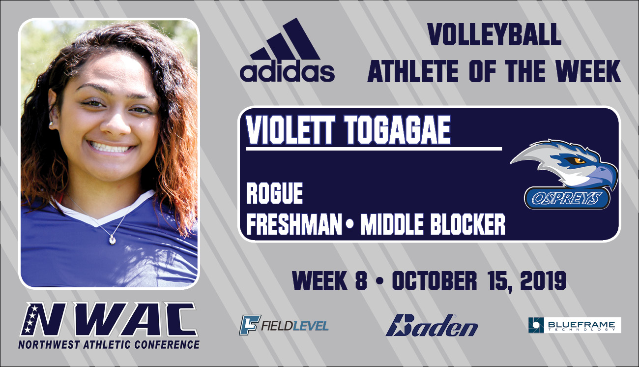 Adidas Volleyball Athlerte of the Week graphic for Violett Togagae.