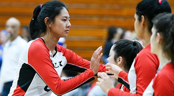 Weiying Wu made 13 kills and four block as the Eagles defeated Daytona State 3-0 (Photo by Tom Hagerty, Polk State.)