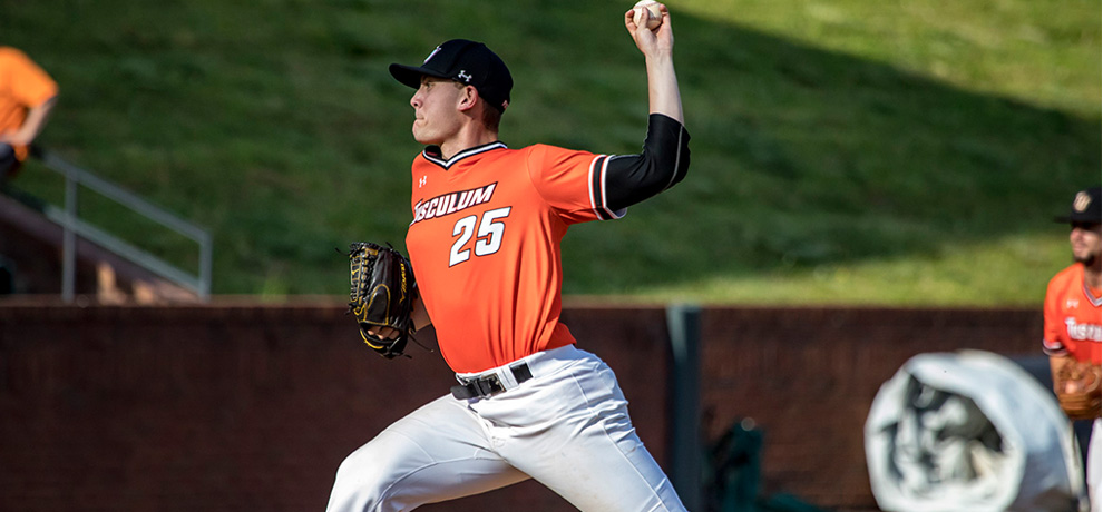 Mitch McCain pitched 5 shutout innings to get the win in Tusculum's 7-5 victory over No. 28 Lincoln Memorial (photo by Chuck Williams)