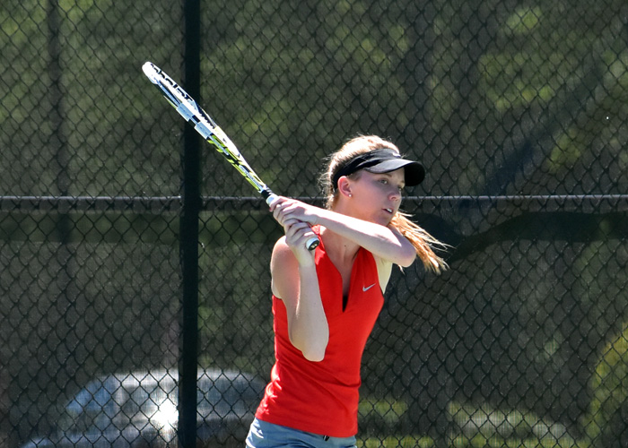 Junior Caroline McBroom won both her singles matches on Saturday against Belhaven and Rhodes. (Photo by Wesley Lyle)