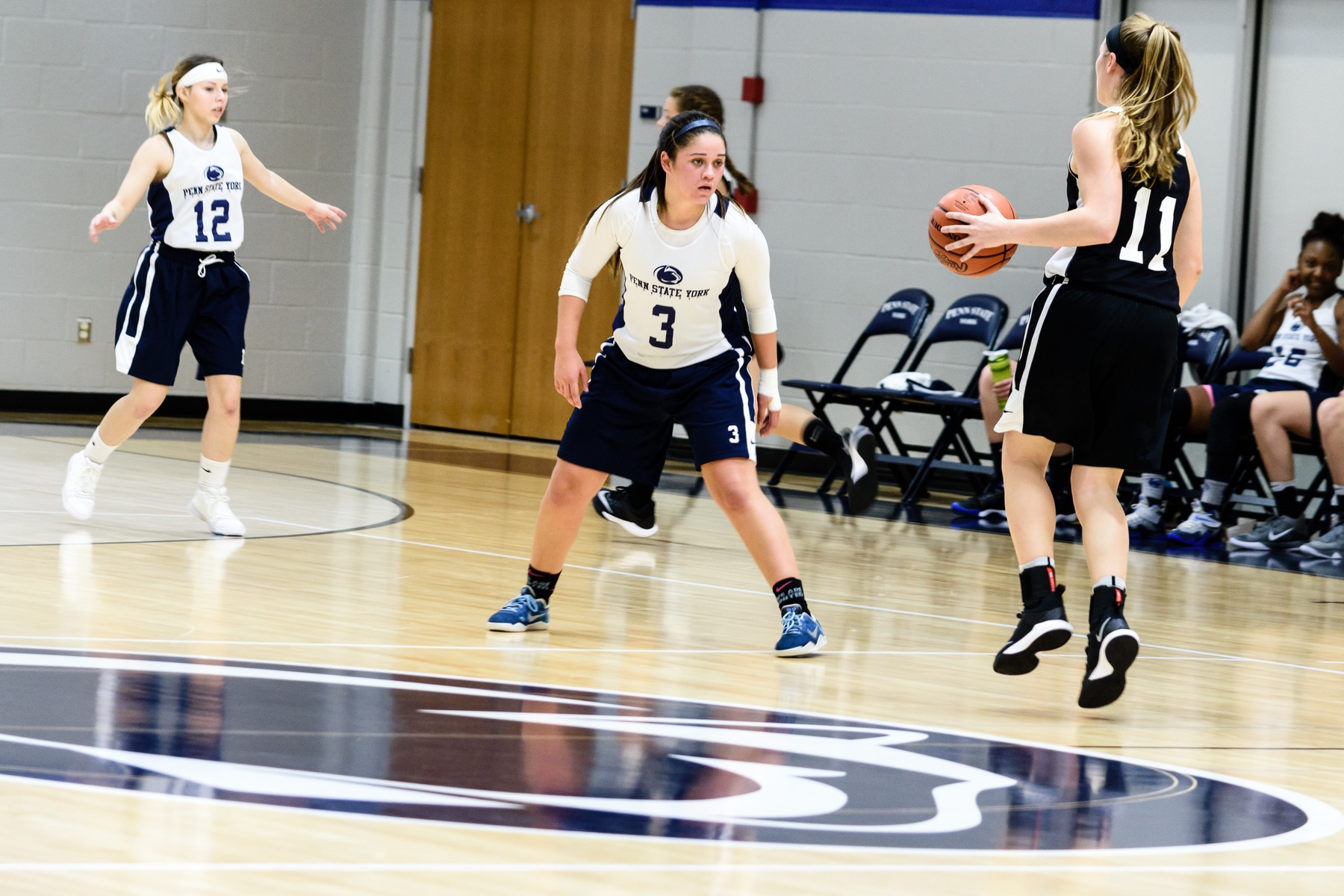Emily Colon (#3) defends during a scrimmage earlier this season.