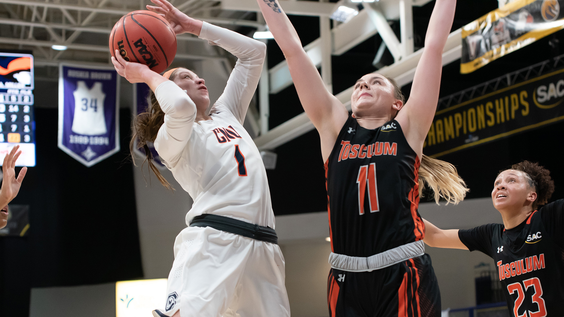 Kasey Johnson defends Kayla Marosites in Saturday's SAC Championship semifinal (photo by Stacey Wylie)