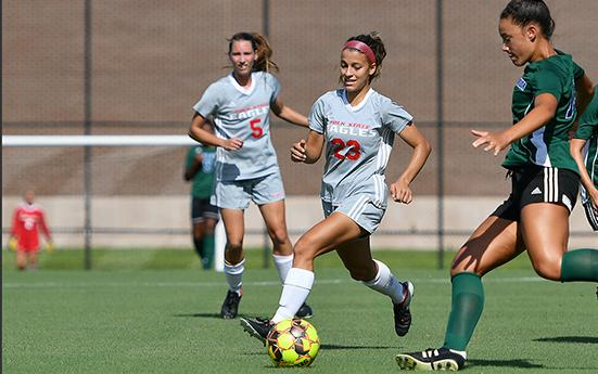 Madison Politis (23) scored twice in Polk State's 5-1 win over ASA College. (Photo by Tom Hagerty, Polk State.)