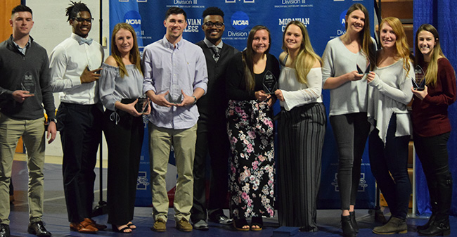 Winners from the 2017-18 Student-Athlete Dinner & Awards in Johnston Hall on April 8, 2018