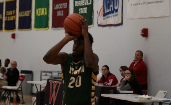 Trevor Powell (20) scored a career-high 21 points in Keuka College's loss on Sunday