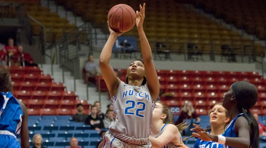 Dejanae Roebuck scored 20 points to lead the No. 17 Blue Dragons to a 74-47 victory over Pratt on Wednesday at the Sports Arena. (Allie Schweizer/Blue Dragon Sports Information).