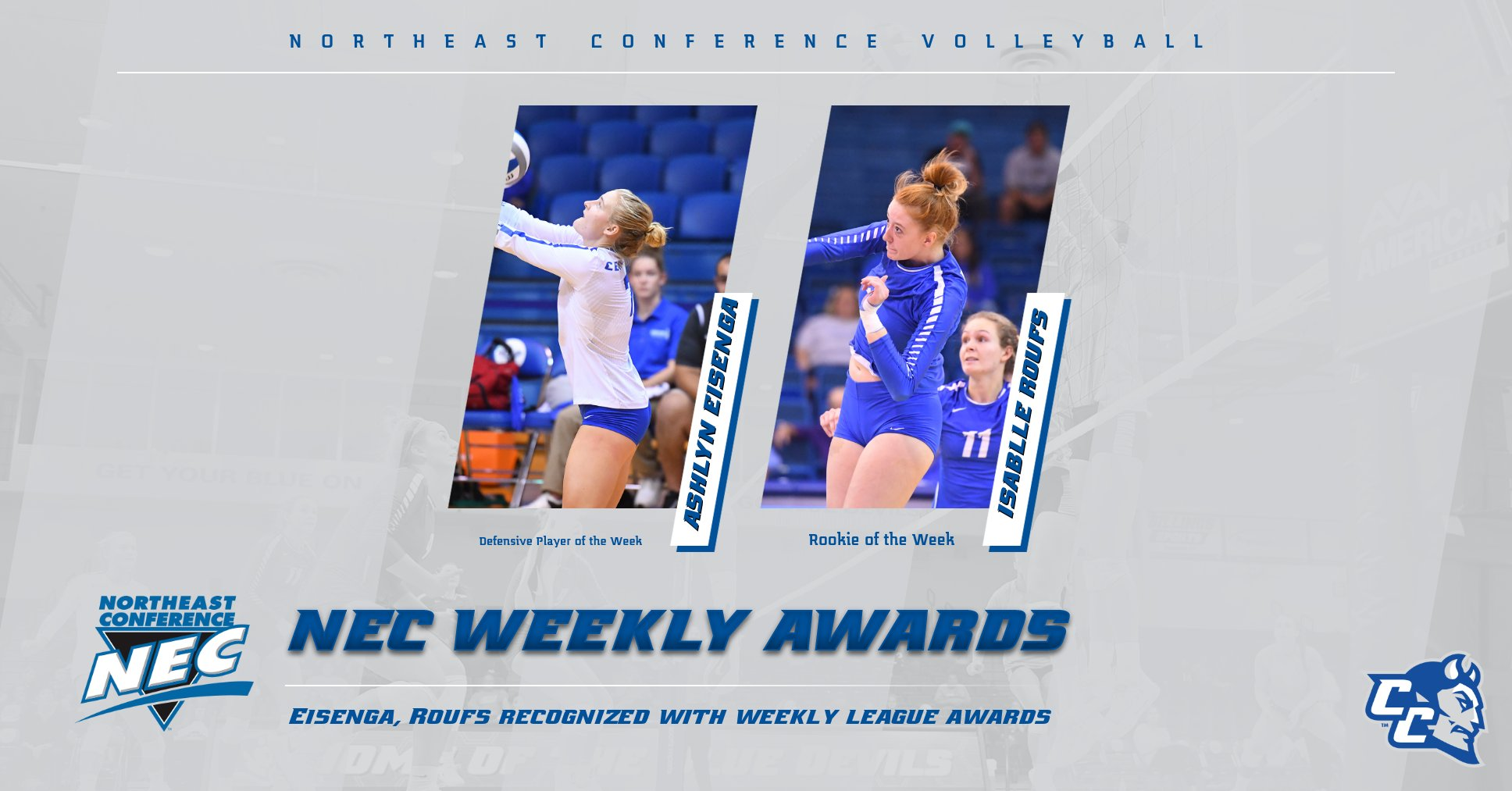 Eisenga, Roufs Earn NEC Volleyball Weekly Awards