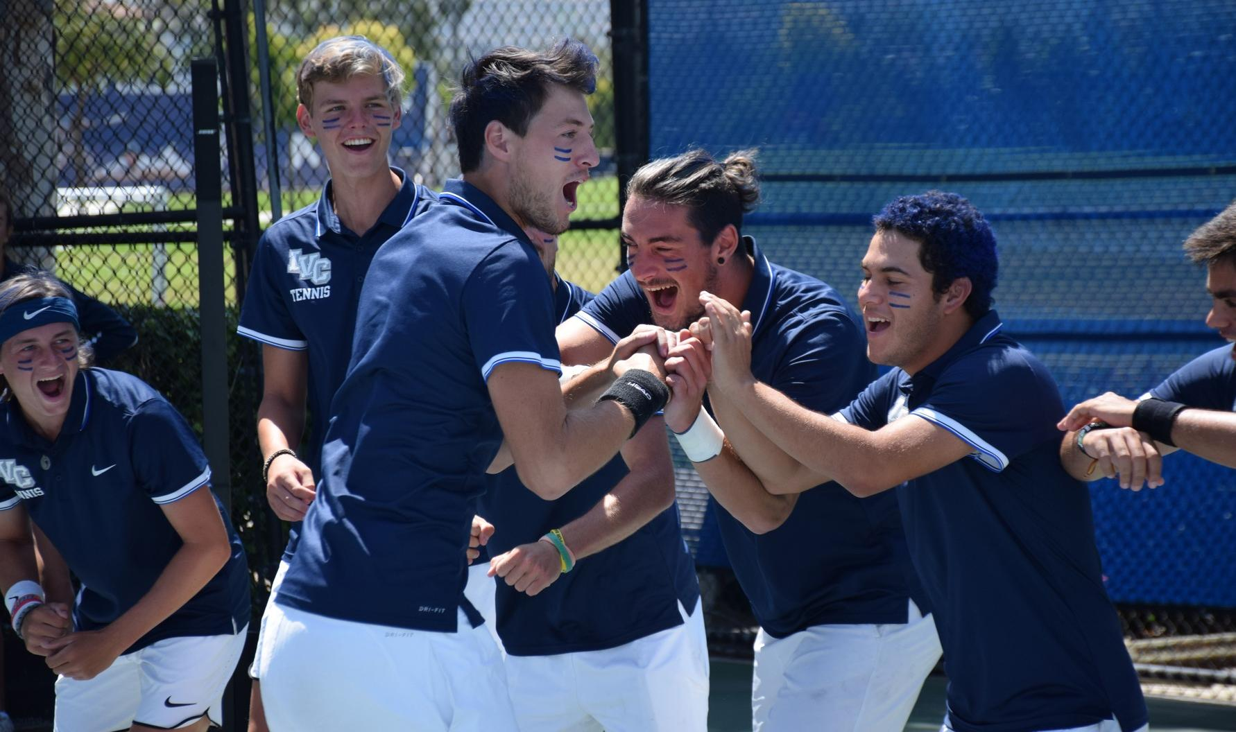 Men's tennis team cruises in opening round of playoffs