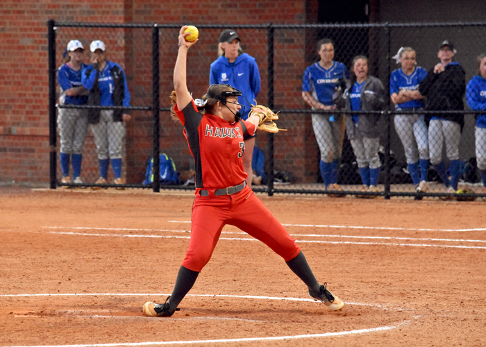 Freshman Lauren Melton earned her first collegiate win in a 2-1 victory in the second game of a doubleheader with the Mississippi University for Women on Monday.