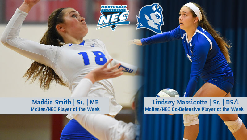 Smith, Massicotte Earn Molten/NEC Volleyball Weekly Honors