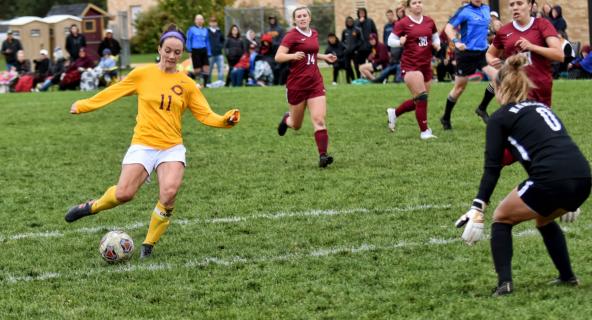 Senior Karsen Granning takes a shot on goal in the second half of the Cobbers' 2-1 win over Hamline. Garanning scored the game-winning goal in the final seven minutes of play.