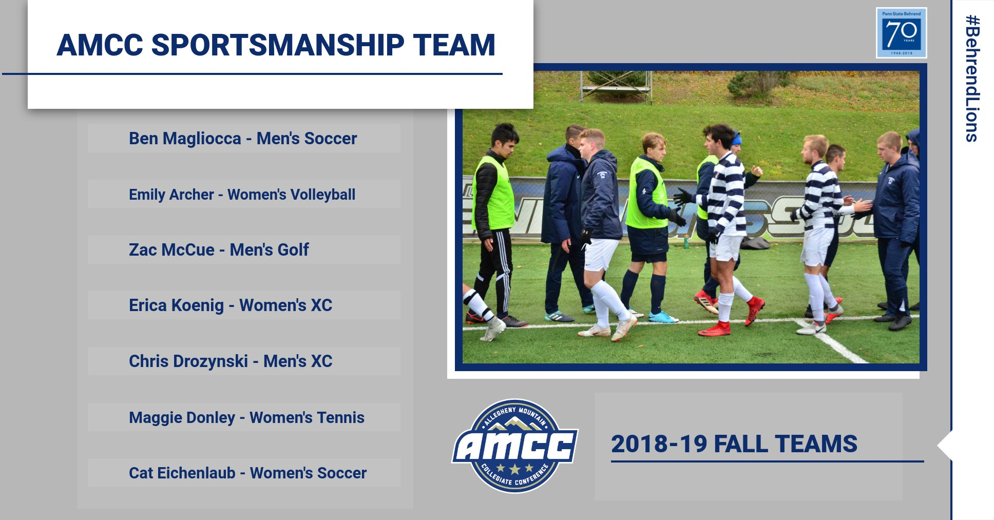 AMCC Announces Fall Sportsmanship Teams