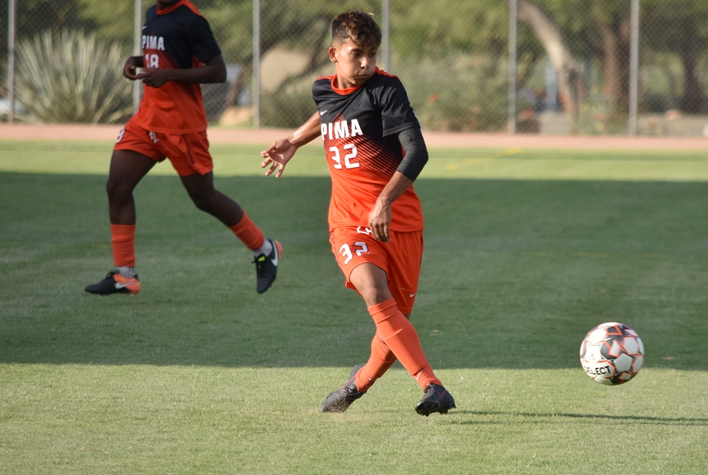Freshman Ricky Gordillo (Maya HS) had another two assists as he found Alec Nguyen and Itsuki Ishihara for the goals. The Aztecs beat Laramie County Community College 3-0 to advance to the NJCAA District I Finals on Saturday. They'll play Snow College at 7:00 p.m. at Kino North Stadium. Photo by Ben Carbajal