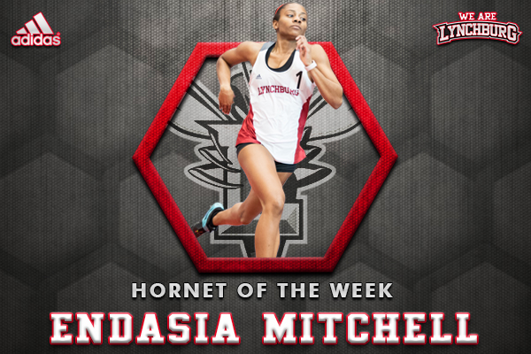 Endasia Mitchell running. Text: Hornet of the Week, Endasia Mitchell