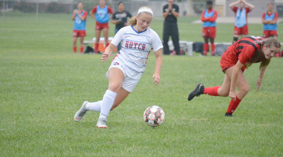 Brailey Moeder scored three goals to lead the Blue Dragons to an 11-0 victory over North Iowa Area on Saturday at the Salthawk Sports Complex. (Andrew Carpenter/Blue Dragon Sports Information)