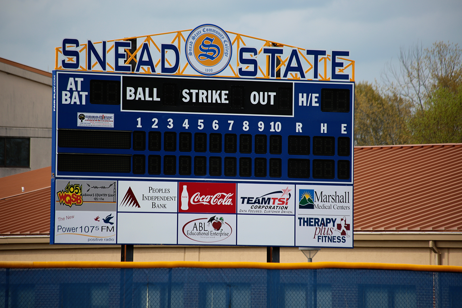 the scoreboard at the Snead State softball field