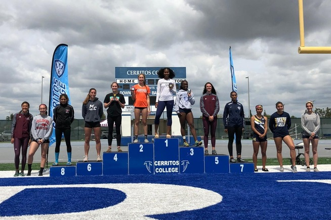 Darlena Robinson stands at the top of the podium as the SoCal Heptathlon Champion