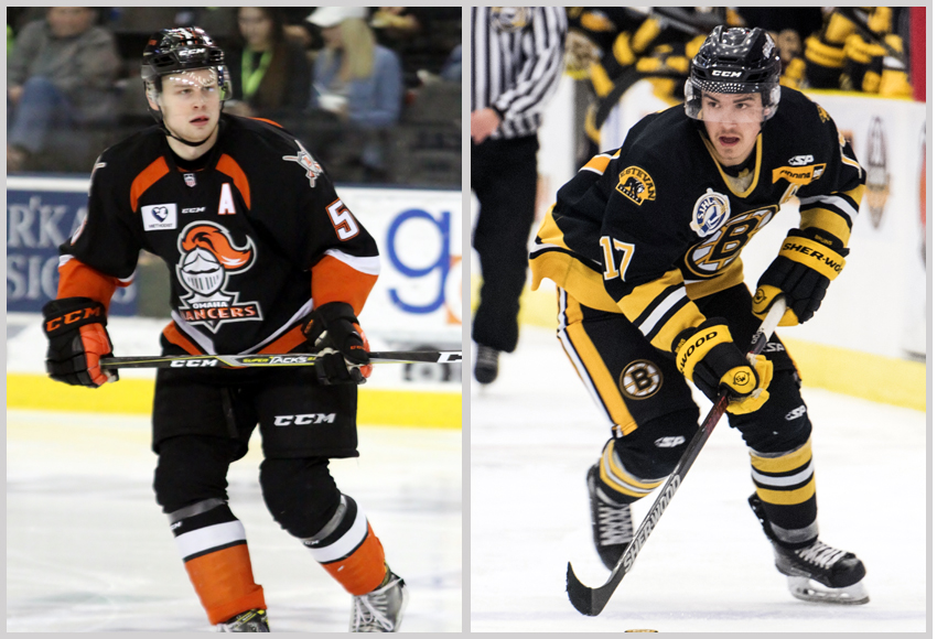 Defenceman Cam Reagan, left, and forward Kaelan Holt are joining the MacEwan Griffins for the 2018-19 season (Photos courtesy of Omaha Lancers and Estevan Bruins).