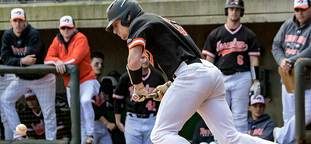 Bryson Ford drove in seven RBI in Tusculum's DH sweep over Goldey-Beacom (photo by Chuck Williams)