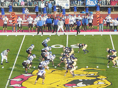 Traverse City St. Francis (dark uniform) advanced to the Division 7 title game with a semifinal win at FSU (Photo by Rob Bentley)