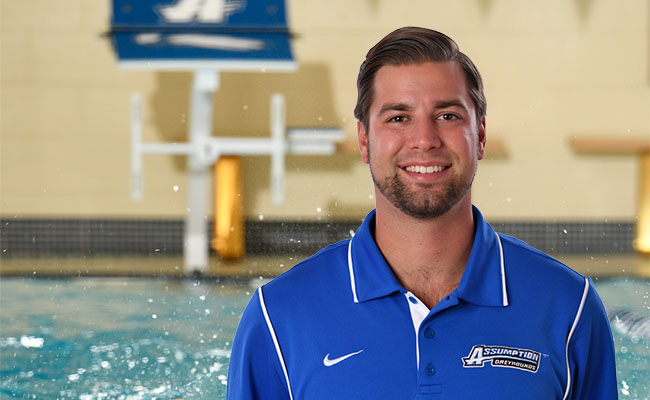 Evan Sholudko - the College's Blue and White Sports Men's Swimming Head Coach