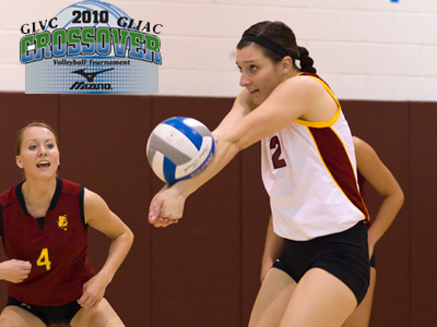 Junior Lisa Tobiczyk recorded a match-high 25 digs in the Bulldogs' opening match at the GLVC/GLIAC Crossover Tournament.  (Photo by Ben Amato)