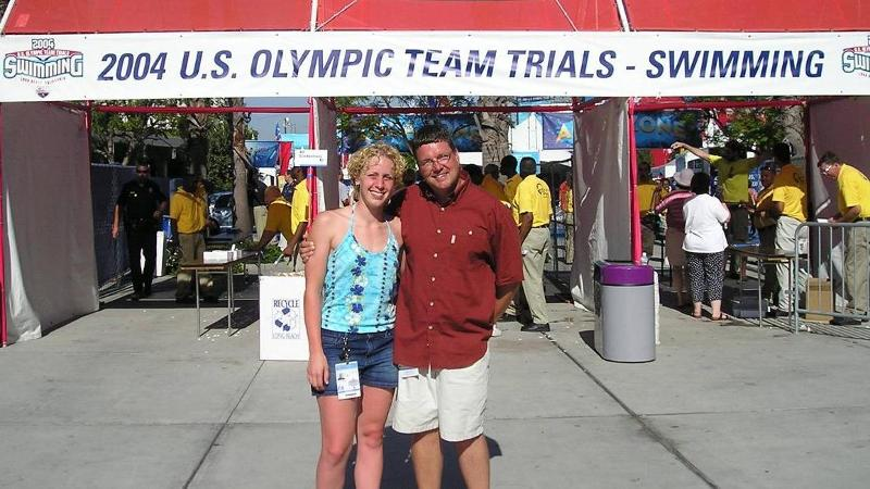 Repass at the Olympic Trials with head coach Bill Ball