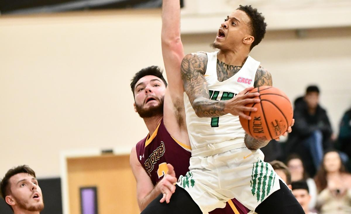 Photo of Jermaine Head who scored a career high 36 points against Bloomsburg and moved into second all-time in career points in program history. Copyright 2019; Wilmington University. All rights reserved. Photo by Gavin Bethell. December 16, 2019 vs. Bloomsburg.