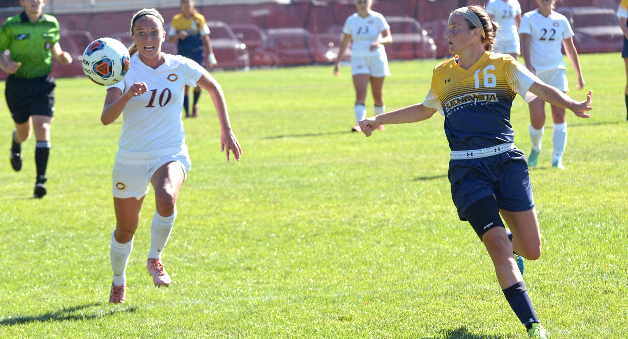 Concordia senior Kayla Dostal tries to track down a bouncing ball near the Buena Vista goal. Dostal helped the Cobbers blank BVU 4-0.