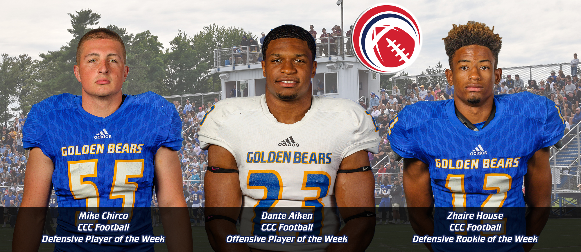Aiken, Chirco & House Earn CCC Football Weekly Awards