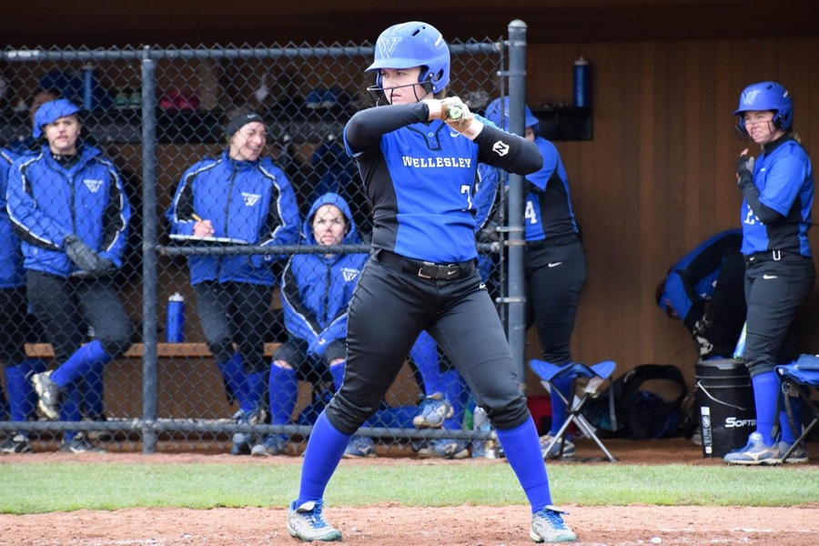 Senior Amanda Manning hit two doubles and a triple to lead the Blue at Emerson (Julia Monaco).