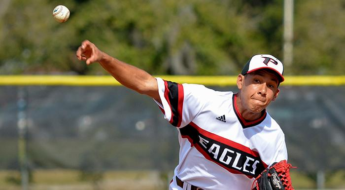 Maikor Mora gave up just one run in eight innings today as the Eagles beat Indian River 2-1. (Photo by Tom Hagerty, Polk State.)