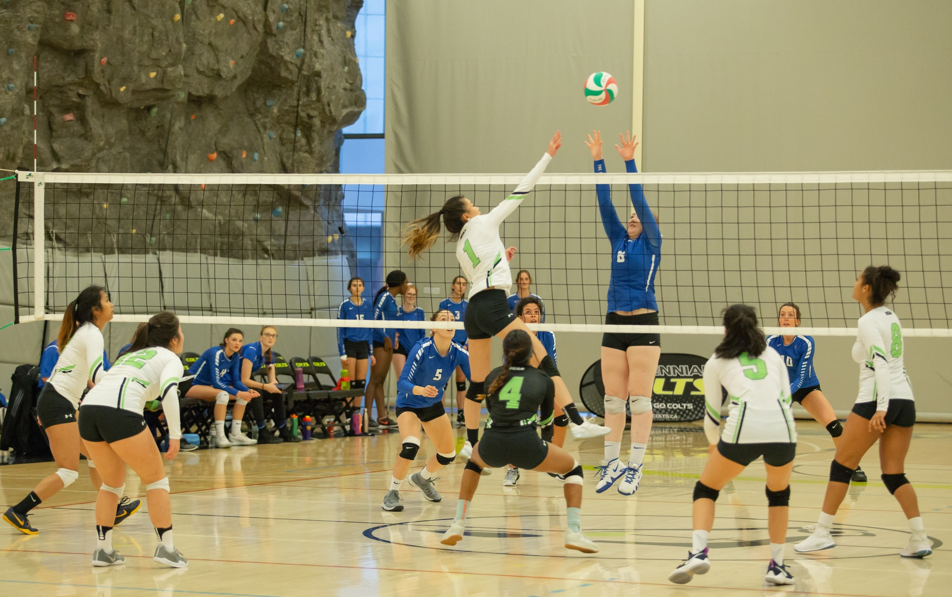Vicky Wong goes up for the kill during the Centennial Colts' straight sets win over the Georgian Grizzlies at the Athletic and Wellness Centre (Nicole Ventura/Colts Media)