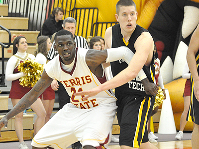FSU senior Lou Williams works for position against Michigan Tech (Photo by Rob Bentley)
