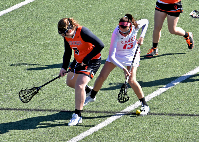 Victoria Krupa scored one goal in Sunday's 25-4 loss to Rhodes. (Photo by Wesley Lyle)