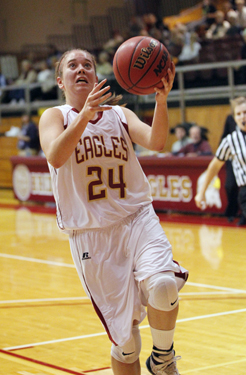 Jordan Burkholder is Bridgewater's all-time leading scorer and also is the career steals leader for the Eagles.