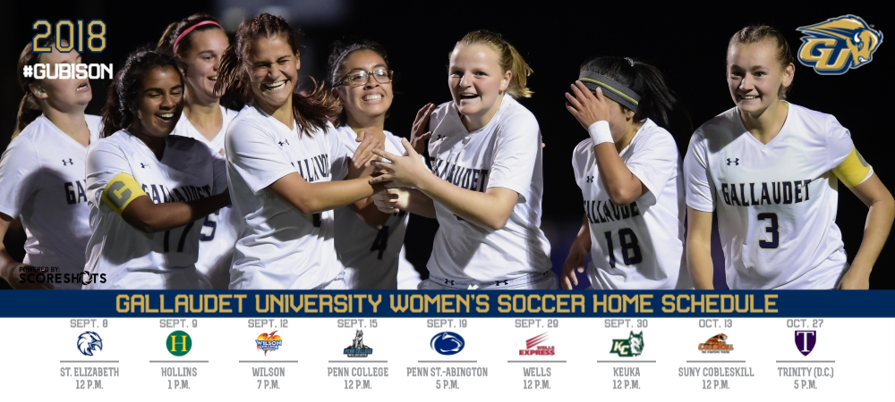 2018 Gallaudet Women's Soccer Home Schedule graphic with logos and a photo of the team