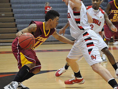 Senior Darien Gay looks for room to move at SVSU (Photo by Rob Bentley)
