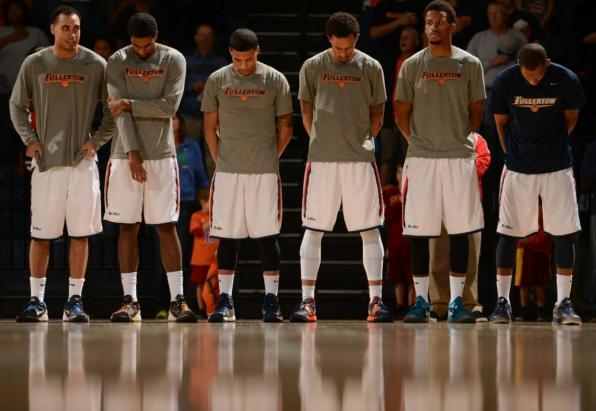 The Titans line up for the National Anthem prior to Saturday night's contest against Long Beach State at Titan Gym (Photo by Matt Brown)