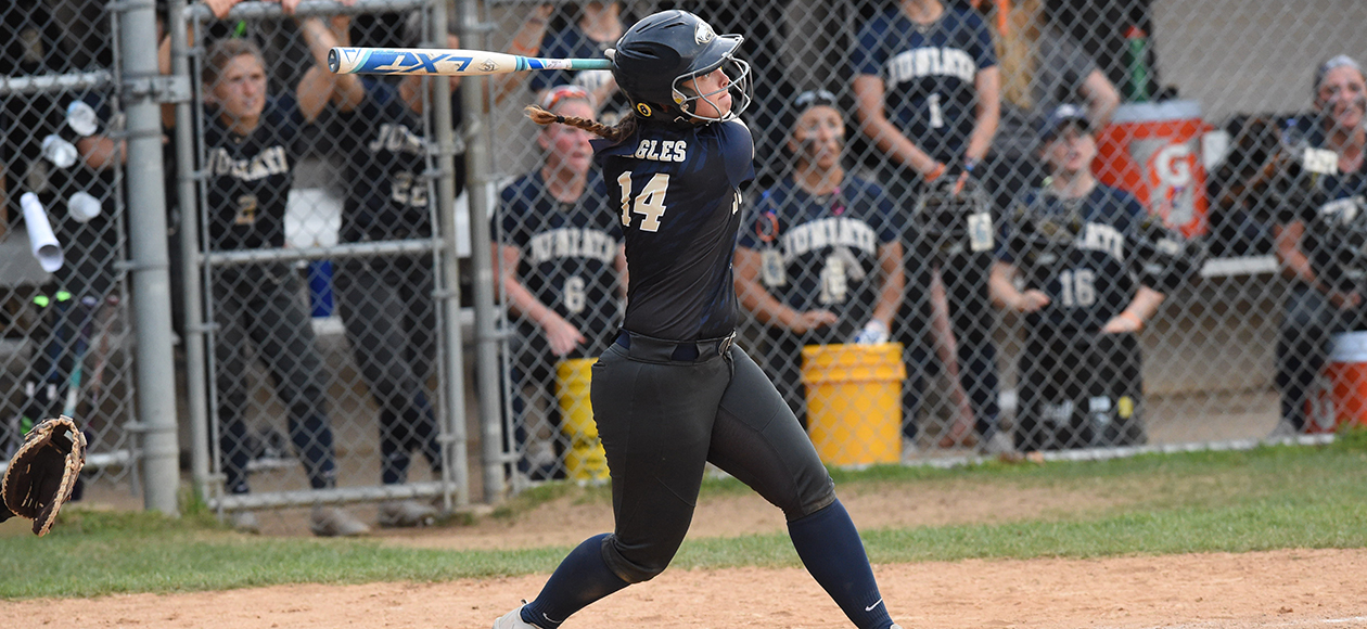 Abby Ebright hit her second home run of the season with a solo shot in Game 1.
