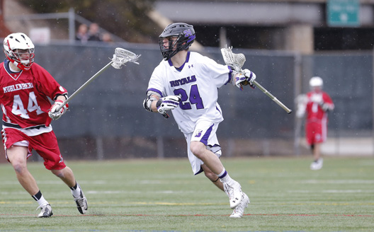 Senior midfielder Dillon McInerney had a goal and two assists as men's lacrosse opened Landmark Conference play with an 11-4 win over Washington & Jefferson on Saturday.