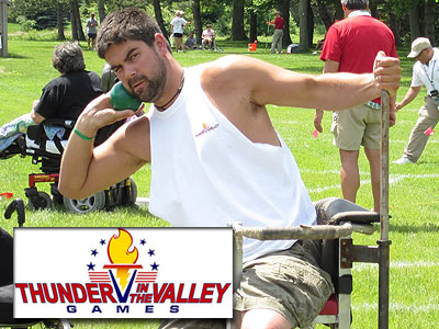 "Bulldog alum Jim Bourdlais competes in the shot put during the ""Thunder in the Valley Games"" (Photo courtesy bourdlaisbrothers.blogspot.com)"