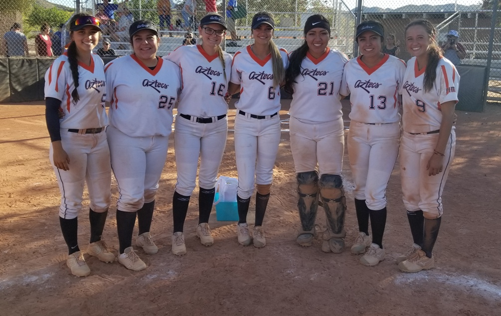 The Aztecs softball team recognized their six sophomores after sweeping Mesa Community College and earning the final spot in the NJCAA Region I, Division I Tournament next week in Yuma. They finished the regular season at 29-26 overall and 25-23 in ACCAC conference play. (Left to right): Jessica Lozania, Maria Vanezza Caldera, Devynn Marshall, Ariana Gomez, Alizea Durazo-Corday, Janice Garcia and Alese Casper/Photo by Raymond Suarez