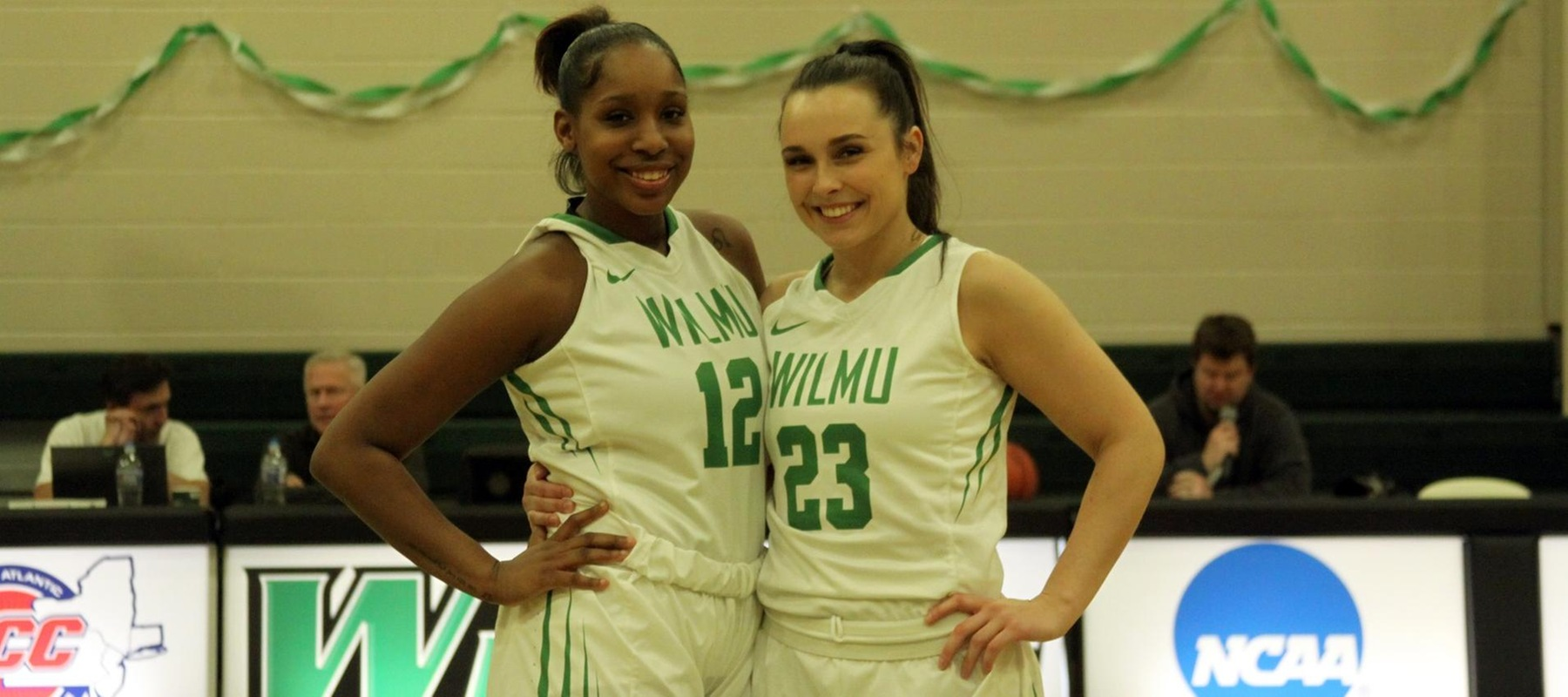 Copyright 2019; Wilmington University. All rights reserved. Photo of Nyree Grant and Macy Robinson on Senior Night. Photo by Samantha Kelley. February 27, 2019 vs. Holy Family.