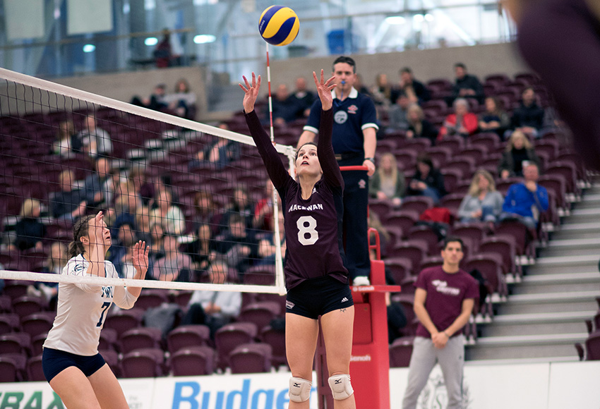 MacEwan setter Claire McLoughlin looks for a hitter during Saturday's match against Trinity Western (Chris Piggott photo).