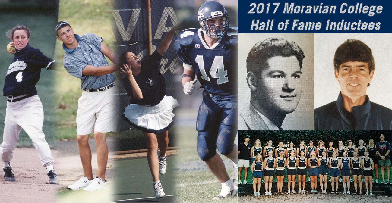 Rosanna Azzolino Ettz '00, Brian Bergstol '07, Lynne Grzywacz Webb '99, Jarrod Pence '03, Larry Rosati '42, Mark Will-Weber and the 2001 women's cross country team make up the 2017 Moravian Hall of Fame Class.