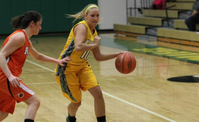 Senior Erica Pendrak scored 12 points with 3 steals and 3 rebounds, but the Keuka College women's basketball team fell to Cazenovia College 53-47 Saturday (photo courtesy of Ed Webber, Keuka College Sports Information department).